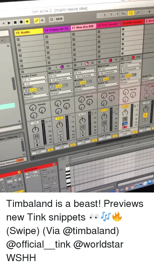 """Tinke: tim xtink 2 miami rewire idea  15 Audio  16 Freeze Sir Co 17 New Era 808 18 Tim1 drums  19 pety nonsen A Reve  321 321  1.288  16  MIDI From  All Ins  MIDI From  MIDI From  All Ins  MIDI From  Audio From  Ext. In  ▼111 Al"""" Channels  Channels ▼11 AllChannels I Mi Channels .  Il 1/2  Monitor  Monitor  Monitor  Monitor  In Auto Off In Auto OffIn Auto Off In Auto orfInAuto  Audio To  Master  Monitor  To  Audio To  Audio To  Audio To  Master  Audio To  ▼11 Master  Sends  Sends  Sends  Sends  の1のの120 lo  0.1340  Int  12  12  12  12  24  36  18  24 