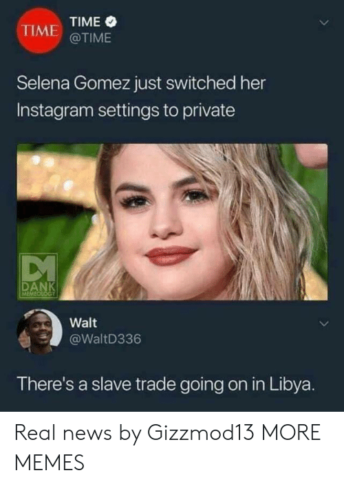 Dank, Instagram, and Memes: TIME  @TIME  TIME  Selena Gomez just switched her  Instagram settings to private  Walt  @WaltD336  There's a slave trade going on in Libya. Real news by Gizzmod13 MORE MEMES