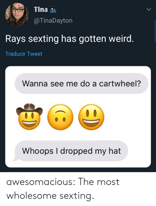 Tumblr, Weird, and Blog: Tina  @TinaDayton  Rays sexting has gotten weird  Traducir Tweet  Wanna see me do a cartwheel?  Whoops I dropped my hat awesomacious:  The most wholesome sexting.