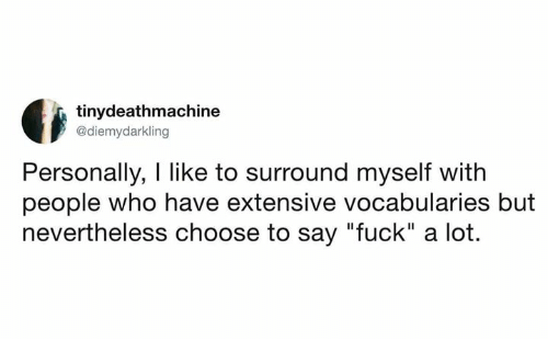 "Fuck, Humans of Tumblr, and Who: tinydeathmachine  @diemydarkling  Personally, I like to surround myself with  people who have extensive vocabularies but  nevertheless choose to say ""fuck"" a lot."