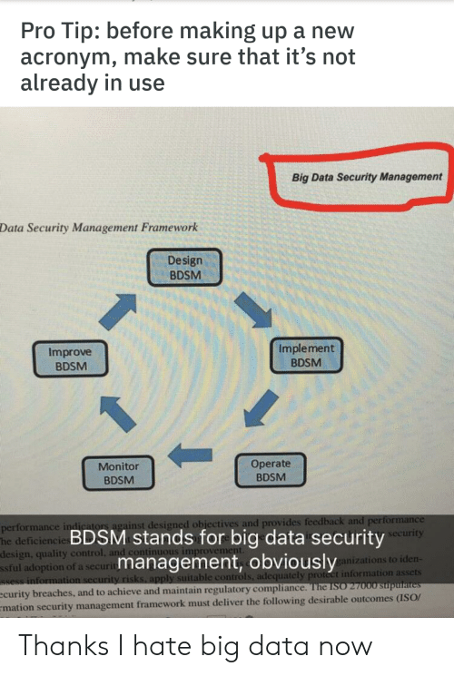 Performance: Tip: before making up a new  acronym, make sure that it's not  already in use  Pro  Big Data Security Management  Data Security Management Framework  Design  BDSM  Implement  Improve  BDSM  BDSM  Operate  Monitor  BDSM  BDSM  performance indicators against designed objectives and provides feedback and performance  deficiencie BDSM stands for big data securityecurity  design, quality control, and continuous improvement.  ssful adoption of a security  Ssess information security risks, apply suitable controls, adequately protect information assets  ecurity breaches, and to achieve and maintain regulatory compliance. The ISO 27000 stupulates  mation security management framework must deliver the following desirable outcomes (ISO/  management, obviously  ganizations to iden- Thanks I hate big data now