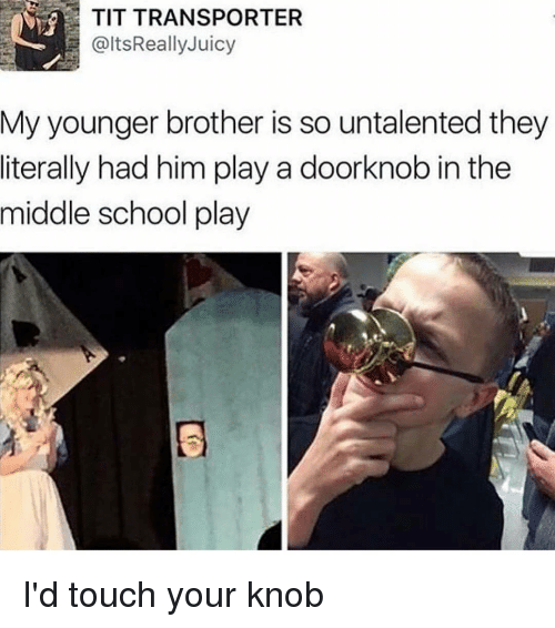 knobs: TIT TRANSPORTER  @ltsReally Juicy  My younger brother is so untalented they  literally had him play a doorknob in the  middle school play I'd touch your knob