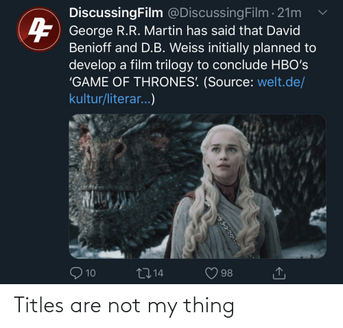 Are Not: Titles are not my thing