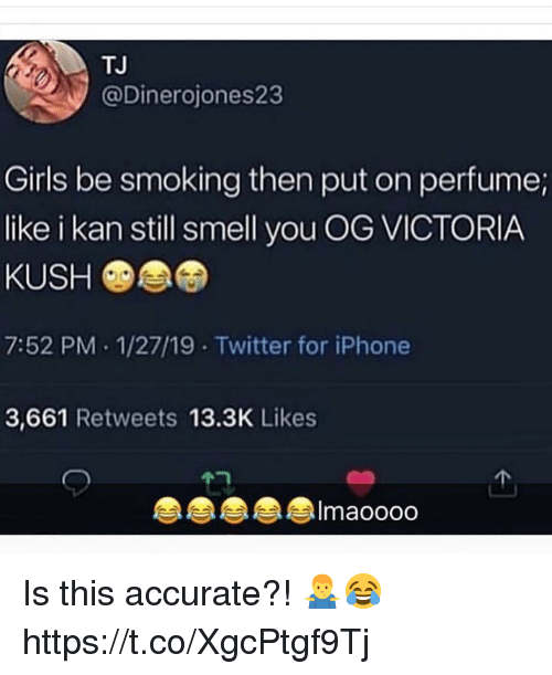 Girls, Iphone, and Smell: TJ  @Dinerojones23  Girls be smoking then put on perfume;  like i kan still smell you OG VICTORIA  KUSH  7:52 PM 1/27/19 Twitter for iPhone  3,661 Retweets 13.3K Likes  Imaoooo Is this accurate?! 🤷♂️😂 https://t.co/XgcPtgf9Tj