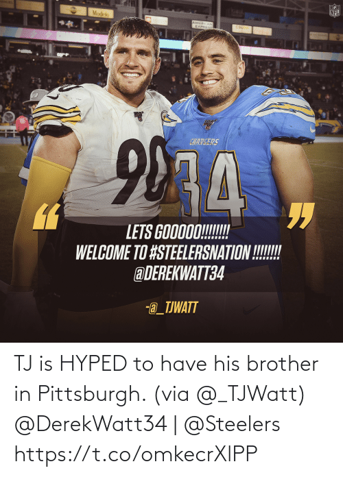 brother: TJ is HYPED to have his brother in Pittsburgh. (via @_TJWatt)   @DerekWatt34   @Steelers https://t.co/omkecrXlPP