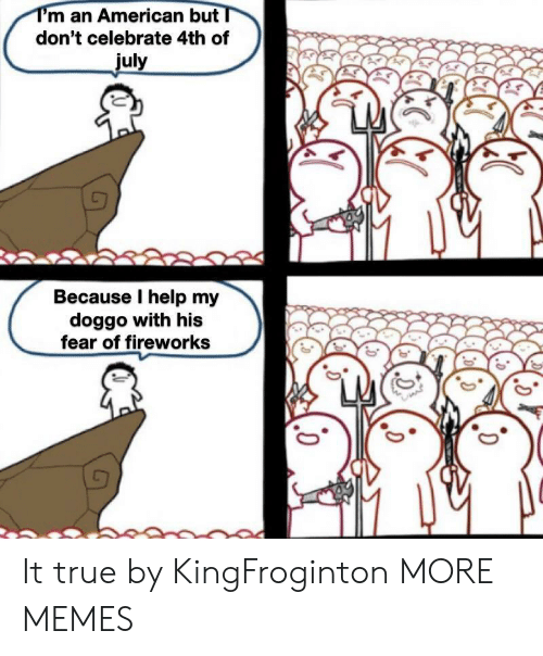 Fireworks: T'm an American but  don't celebrate 4th of  july  Because I help my  doggo with his  fear of fireworks It true by KingFroginton MORE MEMES