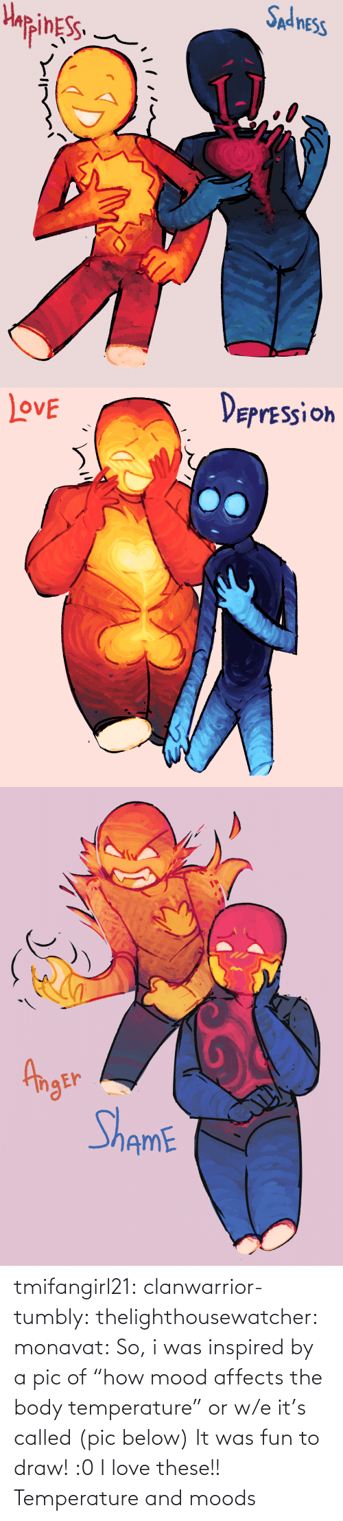 """Moods: tmifangirl21: clanwarrior-tumbly:  thelighthousewatcher:   monavat:    So, i was inspired by a pic of """"how mood affects the body temperature"""" or w/e it's called (pic below) It was fun to draw!   :0   I love these!!    Temperature and moods"""