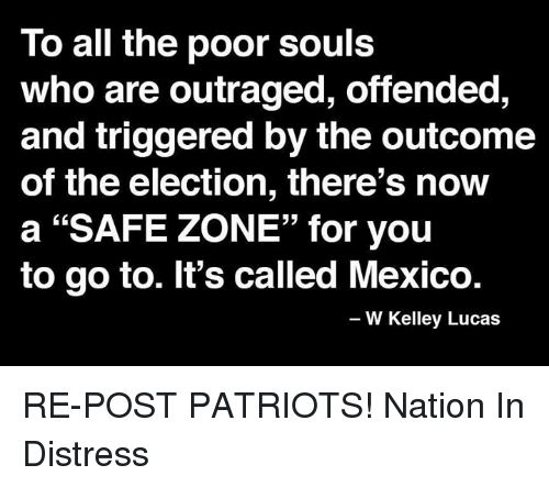 "Memes, Patriotic, and Mexico: To all the poor souls  who are outraged, offended,  and triggered by the outcome  of the election, there's now  a ""SAFE ZONE"" for you  to go to. It's called Mexico.  W Kelley Lucas RE-POST PATRIOTS!   Nation In Distress"
