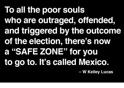 "Memes, Mexico, and Outrageous: To all the poor souls  who are outraged, offended,  and triggered by the outcome  of the election, there's now  a ""SAFE ZONE"" for you  to go to. It's called Mexico.  W Kelley Lucas"