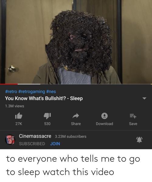 go to sleep: to everyone who tells me to go to sleep watch this video
