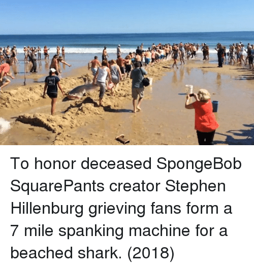 spanking: To honor deceased SpongeBob SquarePants creator Stephen Hillenburg grieving fans form a 7 mile spanking machine for a beached shark. (2018)