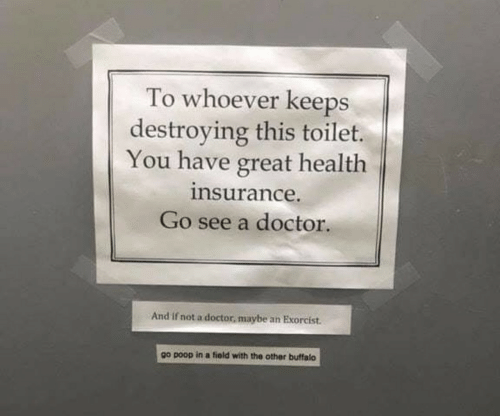 Doctor, Poop, and Buffalo: To whoever keeps  destroying this toilet.  You have great health  nsurance.  Go see a doctor.  And if not a doctor, maybe an Exorcist.  go poop in a fiold with the other buffalo