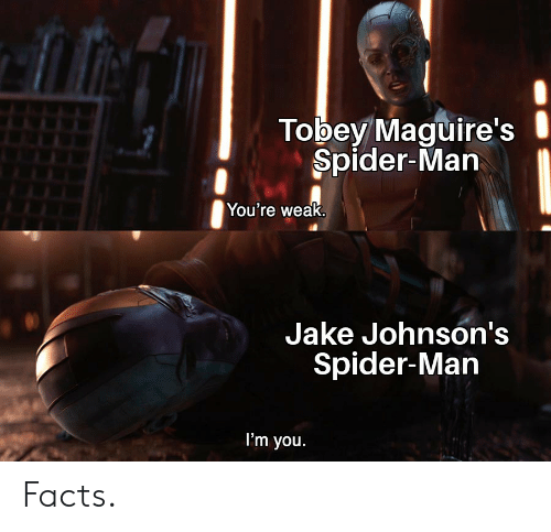 Facts, Marvel Comics, and Spider: Tobey Maguire's  Spider-Man  You're weak.  Jake Johnson's  Spider-Man  I'm you Facts.