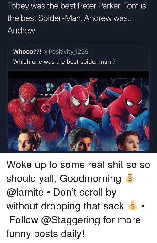 Goodmorning: Tobey was the best Peter Parker, Tom is  the best Spider-Man. Andrew was.  Andrew  Whooo??! @Positivity_1229  Which one was the best spider man?  CINEMA  ACTS  IG I OCINE Woke up to some real shit so so should yall, Goodmorning 💰 @larnite • Don't scroll by without dropping that sack 💰 • ➫➫➫ Follow @Staggering for more funny posts daily!