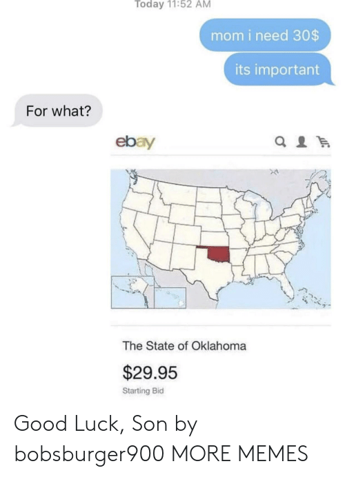 Oklahoma: Today 11:52 AM  mom i need 30$  its important  For what?  ebay  The State of Oklahoma  $29.95  Starting Bid Good Luck, Son by bobsburger900 MORE MEMES
