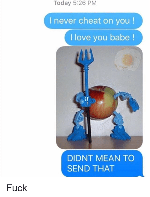 Love, Memes, and I Love You: Today 5:26 PM  I never cheat on you!  I love you babe  DIDNT MEAN TO  SEND THAT Fuck