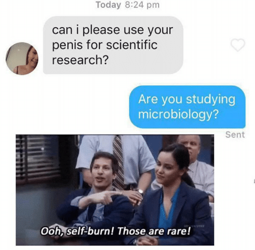 Dank, Penis, and Today: Today 8:24 pm  can i please use your  penis for scientific  research?  Are you studying  microbiology?  Sent  Ooh, self-burn! Those are rare!