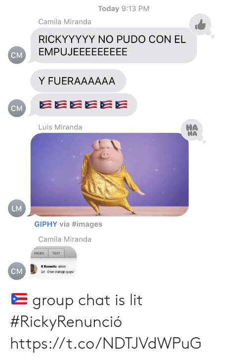 Giphy: Today 9:13 PM  Camila Miranda  RICKYYYYY NO PUDO CON EL  EMPUJEEEEEEEEE  CM  Y FUERAAAAAA  EEEEEE  CM  HA  HA  Luis Miranda  LM  GIPHY via #images  Camila Miranda  PAGES  TEXT  R Rossello admin  CM  Jal Gran trabajo guys! 🇵🇷 group chat is lit #RickyRenunció https://t.co/NDTJVdWPuG
