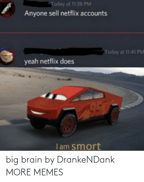 Brain: Today at 11:38 PM  Anyone sell netflix accounts  Today at 11:41 PM  yeah netflix does  I am smort big brain by DrankeNDank MORE MEMES