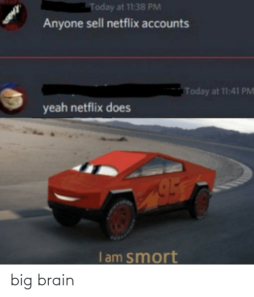 Brain: Today at 11:38 PM  Anyone sell netflix accounts  Today at 11:41 PM  yeah netflix does  I am smort big brain