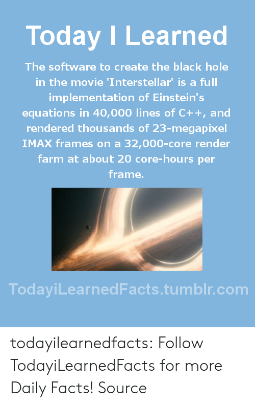 Interstellar: Today ILearned  The software to create the black hole  in the movie 'Interstellar' is a full  implementation of Einstein's  equations in 40,000 lines of C++, and  rendered thousands of 23-megapixel  IMAX frames on a 32,000-core render  farm at about 20 core-hours per  frame.  TodayiLearnedFacts.tumblr.com todayilearnedfacts: Follow TodayiLearnedFacts for more Daily Facts! Source