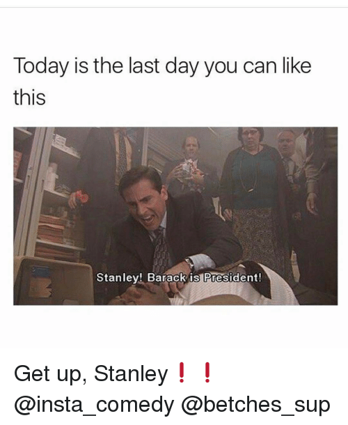 Girl Memes, Stanley, and Sup: Today is the last day you can like  this  Stanley! Barack is President! Get up, Stanley❗️❗️ @insta_comedy @betches_sup