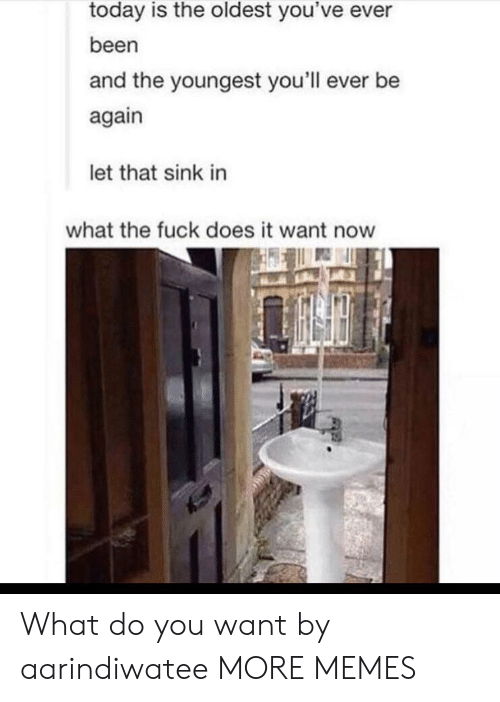 Dank, Memes, and Target: today is the oldest you've ever  been  and the youngest you'll ever be  again  let that sink in  what the fuck does it want now What do you want by aarindiwatee MORE MEMES