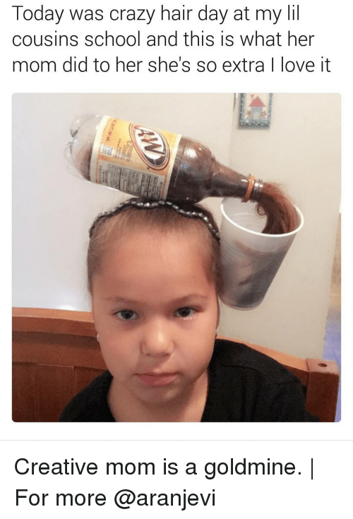 Creativer: Today was crazy hair day at my lil  cousins school and this is what her  mom did to her she's so extra  ove it Creative mom is a goldmine.   For more @aranjevi