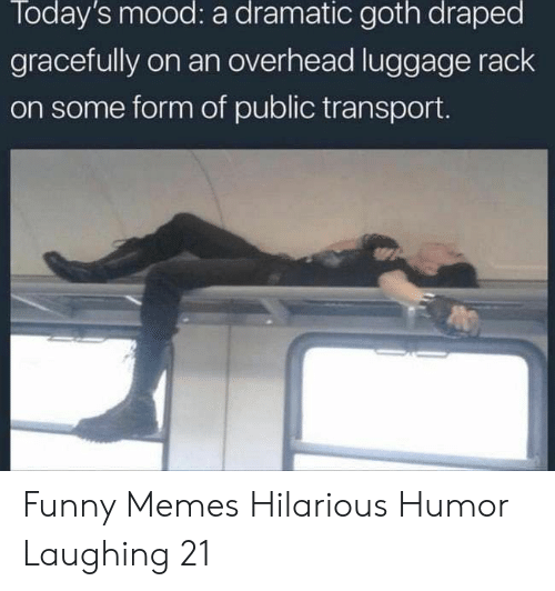 Funny, Memes, and Mood: Today's mood: a dramatic goth draped  gracefully on an overhead luggage rack  on some form of public transport. Funny Memes Hilarious Humor Laughing 21