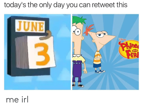 Irl, Me IRL, and Can: today's the only day you can retweet this  JUNE  SNE  3  an  ERI me irl