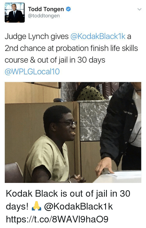 lynching: Todd Tongen  atoddtongen  Judge Lynch gives  KodakBlackmka  2nd chance at probation finish life skills  course & out of jail in 30 days  @WPLGLocal 10 Kodak Black is out of jail in 30 days! 🙏 @KodakBlack1k https://t.co/8WAVl9haO9