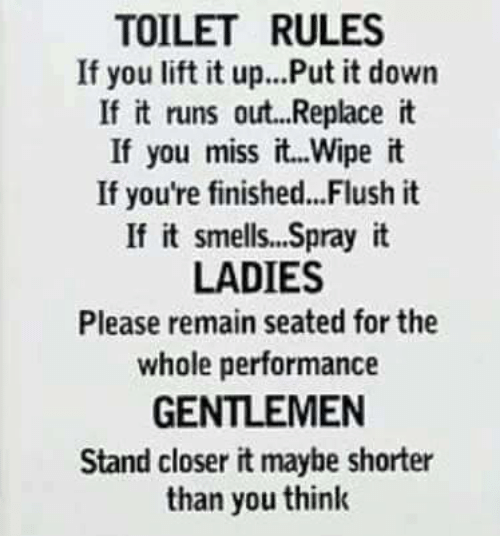 TOILET RULES If You Lift It UpPut It Down If It Runs Out