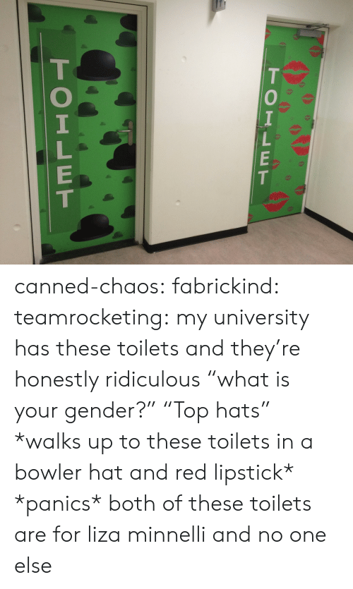 "Canned: TOILET  TOILET canned-chaos: fabrickind:   teamrocketing:  my university has these toilets and they're honestly ridiculous  ""what is your gender?"" ""Top hats""   *walks up to these toilets in a bowler hat and red lipstick* *panics*   both of these toilets are for liza minnelli and no one else"