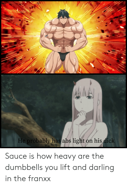 Anime, Dick, and Sauce: TOKYO  He probably has abs light on his dick Sauce is how heavy are the dumbbells you lift and darling in the franxx