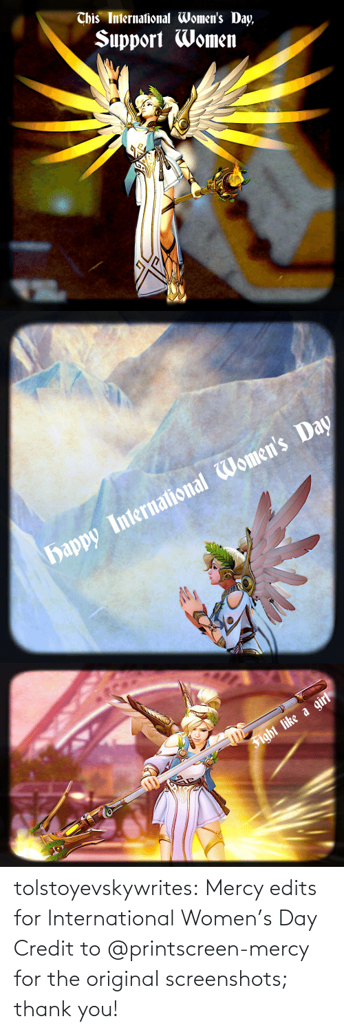 International: tolstoyevskywrites: Mercy edits for International Women's Day Credit to @printscreen-mercy for the original screenshots; thank you!