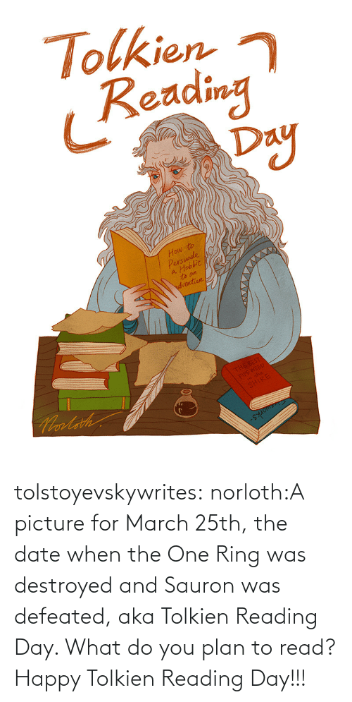 ring: tolstoyevskywrites:  norloth:A picture for March 25th, the date when the One Ring was destroyed and Sauron was defeated, aka Tolkien Reading Day. What do you plan to read? Happy Tolkien Reading Day!!!