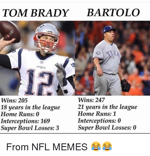 The League: TOM BRADY BARTOLO  12  Wins: 247  21 years in the league  Wins: 205  18 years in the league  Home Runs: 0  Interceptions: 169  Super Bowl Losses: 3  Home Runs: 1  Interceptions: 0  Super Bowl Losses: 0 From NFL MEMES 😂😂