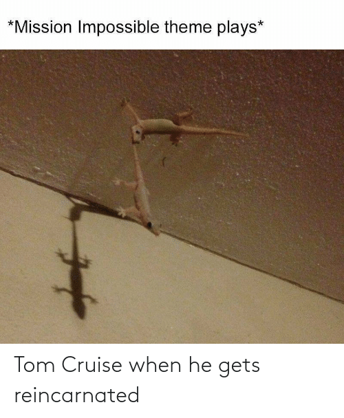 gets: Tom Cruise when he gets reincarnated