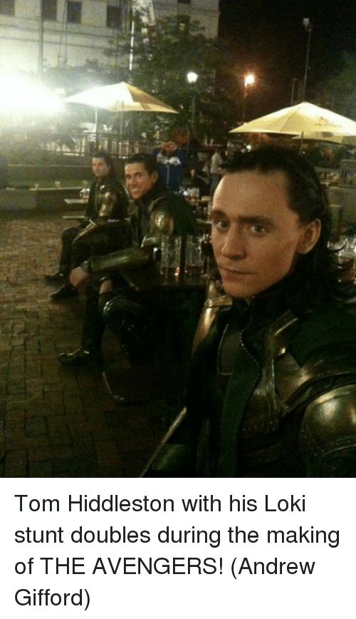 Lokie: Tom Hiddleston with his Loki stunt doubles during the making of THE AVENGERS!  (Andrew Gifford)