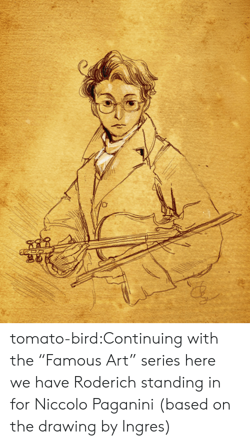 """Target, Tumblr, and Blog: tomato-bird:Continuing with the """"Famous Art"""" series here we have Roderich standing in for Niccolo Paganini (based on the drawing by Ingres)"""