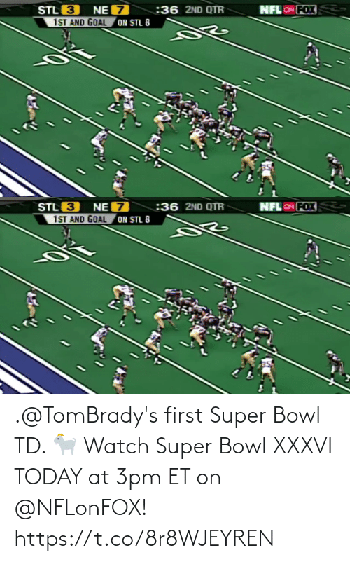 super: .@TomBrady's first Super Bowl TD. 🐐  Watch Super Bowl XXXVI TODAY at 3pm ET on @NFLonFOX! https://t.co/8r8WJEYREN