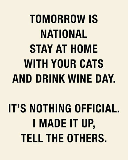 Drink Wine: TOMORROW IS  NATIONAL  STAY AT HOME  WITH YOUR CATS  AND DRINK WINE DAY.  IT'S NOTHING OFFICIAL.  I MADE IT UP,  TELL THE OTHERS.