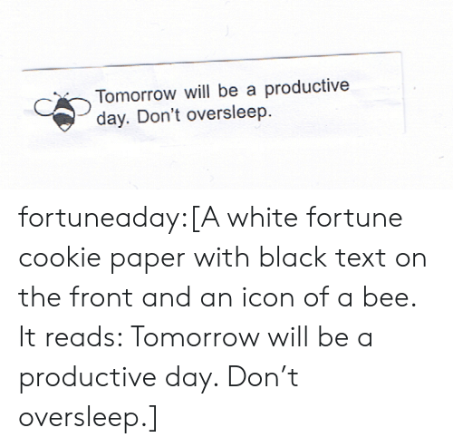 icon: Tomorrow will be a productive  day. Don't oversleep fortuneaday:[A white fortune cookie paper with black text on the front and an icon of a bee. It reads: Tomorrow will be a productive day. Don't oversleep.]