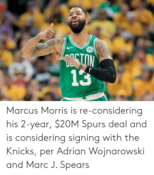 New York Knicks: TON  13 Marcus Morris is re-considering his 2-year, $20M Spurs deal and is considering signing with the Knicks, per Adrian Wojnarowski and Marc J. Spears