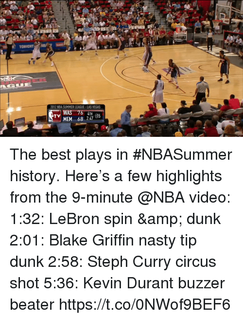 Blake Griffin: TONIGHT  13  2012 NBA SUMMER LEAGUE-LAS VEGAS  WAS  MEM 68 2:47 1  TV The best plays in #NBASummer history.   Here's a few highlights from the 9-minute @NBA video:  1:32: LeBron spin & dunk 2:01: Blake Griffin nasty tip dunk 2:58: Steph Curry circus shot 5:36: Kevin Durant buzzer beater   https://t.co/0NWof9BEF6