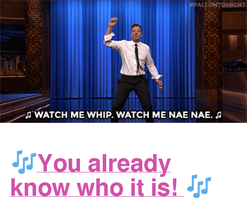 "nae nae: TONIGHT  JWATCH ME WHIP. WATCH ME NAE NAE. <h2><a href=""https://www.youtube.com/watch?v=fe5ggZVpWcc"" target=""_blank"">🎶You already know who it is! 🎶</a></h2>"