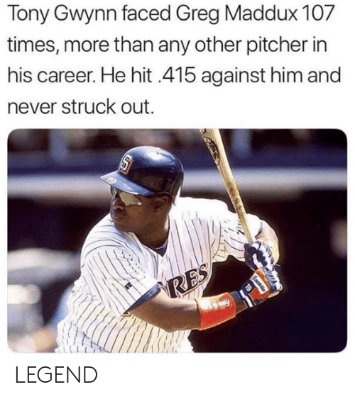 Mlb, Greg Maddux, and Legend: Tony Gwynn faced Greg Maddux 107  times, more than any other pitcher in  his career. He hit 415 against him and  ever struck out  19  RES  Ganklin LEGEND