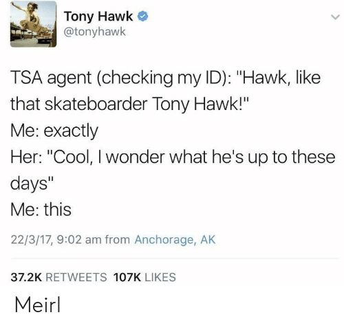 """Hawkes: Tony Hawk  @tonyhawk  TSA agent (checking my ID): """"Hawk, like  that skateboarder Tony Hawk!""""  Me: exactly  Her: """"Cool, I wonder what he's up to these  days""""  Me: this  22/3/17, 9:02 am from Anchorage, AK  37.2K RETWEETS 107K LIKES Meirl"""