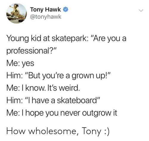 """Skateboarding: Tony Hawk  @tonyhawk  Young kid at skatepark: """"Are you a  professional?""""  Me: yes  Him: """"But you're a grown up!""""  Me: I know. It's weird  Him: """"I have a skateboard""""  Me: l hope you never outgrow it How wholesome, Tony :)"""
