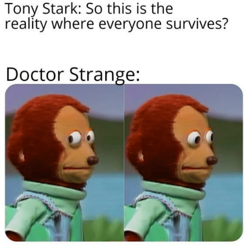 Doctor, Reality, and Doctor Strange: Tony Stark: So this is the  reality where everyone survives?  Doctor Strange